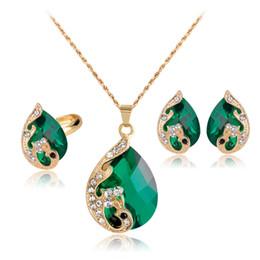 Collar de color pavo real online-DIY Peacock Earrings + Ring + Crystal Necklace joyería femenina traje de la joyería La novia