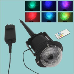 Wholesale Party Projector Remote - LED Water Ripples Stage Light AC 100-240V 3w RGBW Waterproof Projector Stage Lamp with Remote Controller Holiday Home Party