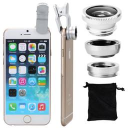 Iphone 5s fisheye en Ligne-50set / lot * Universal Clip 3 en 1 Fish Eye Grand Angle Macro Fisheye Objectif de Téléphone Mobile Pour iPhone 6 5 5S Samsung HTC Tous les téléphones