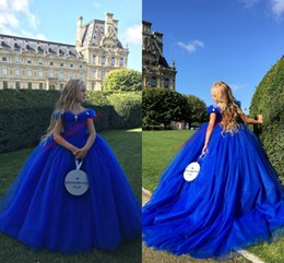 Wholesale Baby Cinderella Dresses - Cinderella Inspired Girls Pageant Dresses 2017 Off the Shoulder Royal Blue Baby Girl Infant Toddler Birthday Party Formal Dress Sweep Train
