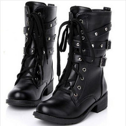 Wholesale Lace Up Winter Boots For Women - Wholesale- Plus size 42 Genuine Leather martin boots 2016 new autumn winter boots fashion rivets Lace up flat shoes for zapatos mujer k627