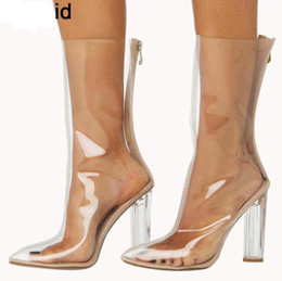Wholesale Women Clear Transparent Boots - Hot new women PVC ankle boots pointed toe crystal heel transparent women boots clear high heels summer shoes big size 43