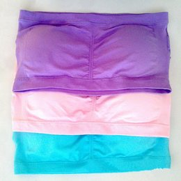Wholesale Womens Tube Tops Hot - 600pcs Womens Strapless Padded Bra Bandeau Removable Pads Tube Top Seamless Crop Colors Hot Genie Bra 3pcs  Set pack Opp bag TVB010