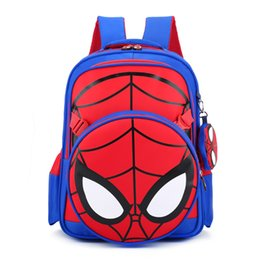 Wholesale Spiderman Backpacks - Spiderman pattern Prints Students backpack Primary School bags 2pcs   set nylon Fabric Boys Children Backpack Red and Black