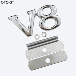 Wholesale V8 Toyota - Metal V8 Front Grill Car Emble Stickers Badge For Audi a6 q7 Toyota Auto Car Styling Accessories