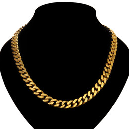 Wholesale Jewellery Yellow Rose - Luxury Curb Chain Necklace Yellow Gold Rose Gold Plated Heavy 10mm Bling Solid Chunky Cuban Rapper Gangsta Pimp Jewellery 100 G