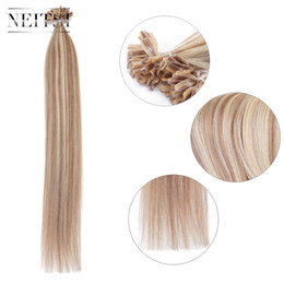 Wholesale Wholesale Keratin Extensions - Neitsi 20'' Pre Bonded U Tip Hair Straight Nails Human Hair 50g lot 1g s P14 24# Keratin Fusion Hair Extensions