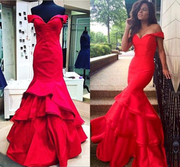 Wholesale Taffeta Pleated Skirt - Red Off The Shoulder Mermaid Prom Dresses Tiered Skirts Long Evening Dresses Formal Party Gowns Custom Made Cheap Celebrity Dress BA2322