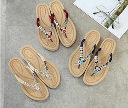 Wholesale Flip Flops Clips - 2016 female summer sandals and slippers clip toe flat with beaded rhinestone sandals beach shoes