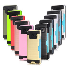 Wholesale Holder Rubber Case Iphone - For Galaxy Note 5 S7 S8 edge plus iPhone 6 7 6S Plus Case Shell Shockproof Rubber Bumper Case With Card Slot Holder Wallet Case