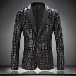 Wholesale Mens Faux Leather Blazer - Wholesale- 2017 Brand Plaid Men Blazer Jacket Slim Fit Casual Faux Leather Spliced Velvet Suit Fashion Pieces Design Mens Blazer Black 4XL