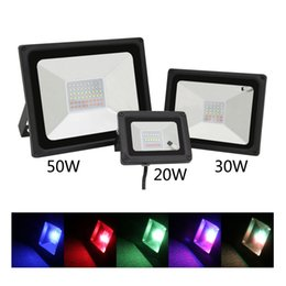 Discount led projection floodlights - Wholesale- Hot new glass panel emergency light projection lamp floodlight 20W 30W 50W IP65 RGB 220V outdoor lamp high power flood light