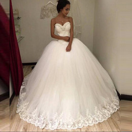 Wholesale Strapless Beach Wedding Bride - Strapless Sexy 2016 New White Beaded Lace & Tulle Ball Gown Wedding Dress vestidos de noiva Bridal Gowns Wedding gowns for Bride