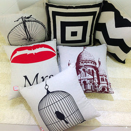 Wholesale Red Stripe Pillow - Simplicity digital printing pillow case back car cushion covers Red lips stripes plaid simpilicity pillow cover