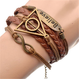 Wholesale Harry Potter Leather Bracelets - Vintage Harry Movie Inspired Antique Bronze Deathly Hallows Charm Leather Bracelet for Potter