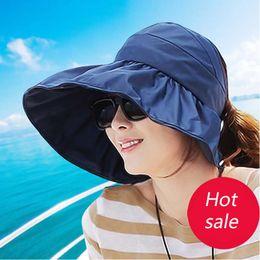 d473bd58e87c6 Wholesale- Sun Hats sun visor hat Sun Hats for women with big heads beach  hat summer UV protection