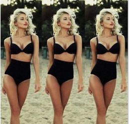 Wholesale Cool Swimwear Bikinis - 2016 Fashion Vintage Black Swimsuit Underwire Push Up High Waist Bikini Set Sexy Women Swimwear High Waist Bathing Suits Cool Bikini