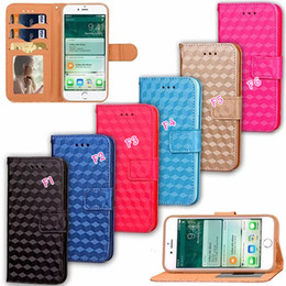 Wholesale Colorful Flower Wallet - Flower Square Wallet Leather 7Plus Dot Colorful Stone Floral Top Grade Frame Photo Flip Cover Case For Iphone 7 I7 4.7'' Plus Stand Pouch