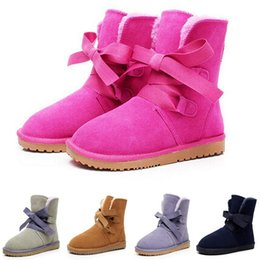 Wholesale Cow Full Grain Leather Shoes - 2016 wholesale! winter New Fashion Australia classic strap boots real leather women's snow boots plus thick warm cotton shoes