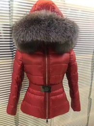 Wholesale fox fur coat xl - M Brand women down jacket thickening Female down parkas 100% real Fox fur collar hood down coat Red Black White 3 colors