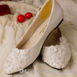 Wholesale Ivory Bridal Sandals - Ivory Wedding Shoes Lace Applique Pearl Beaded Bridal Shoes Bridal Accessories Beaded Wedding Shoes Crystal Women Sandal Platforms For Bride