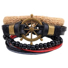 Wholesale Mens Leather Anchor Bracelets - Anchor Leather Bracelets Beads Mens Braided Fashion Bracelets with High Quality as Christmas Present for Girl Jewelry LB014