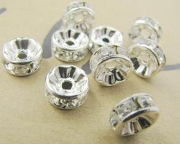 Wholesale 8mm Rhinestone Rondelle Beads - 8MM White Crystal Spacer Metal Silver Plated Rondelle Rhinestone Loose Beads For Best DIY Jewelry Making fit Bracelet DIY