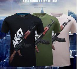 Wholesale Graphic S - 2016 new summer 3D AK47 printing Men t shirts Fashion SWAT Guns Graphic men tees polos men's clothing Plus size S~6XL