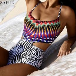 Wholesale Stripe Bottom Swimsuit - Wholesale- ZAFUL 2017 New Brazilian One Piece National Print Swimsuit Sexy Hollow Out Swimwear Zebra-stripe Bottom Beachwear Bathing Suit