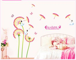 Wholesale Pink Fairy Wall Stickers - wall decor stickers pink dandelions umbrella butterfly fairy decals children room real sticker cartoons 3d wall decoration