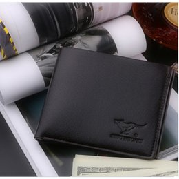 Wholesale Mens Designer Leather Wallets - Hot-sales! Crazy Cowskin Mens Wallets Polo Wallet For Men Designer Brand Purse Small Man Wallet Mens Coin Purse
