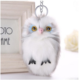 Wholesale Trees Keychain - 8 Colors Cute Fluffy Owl Keychain Bag Pendant Women Key Ring Faux Bunny Rabbit Fur Pompoms Key Chains For Handbag Plush Keyring