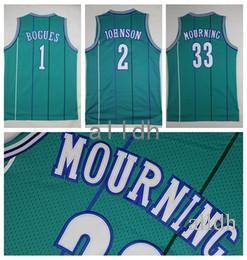 Wholesale Vintage Shirts Xxl - Retro Throwback Basketball Jerseys 1 Tyrone Muggsy Bogue 2 Larry Johnson 33 Alonzo Mourning Stitched Shirts Basketball Jersey Vintage MENS