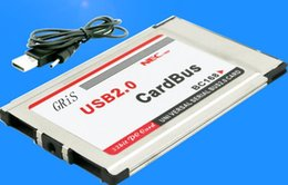 Wholesale Pcmcia Cardbus Usb - Original New Laptop PCMCIA to 2 Port USB 2.0 CardBus 480M usb expansion card 2 port usb hub Adapter NEC chipset Build-in Inside hide 100pcs