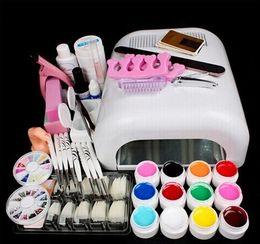 Wholesale Acrylic Nail Pens - New Nail Acrylic Powder UV Gel kit Brush Pen UV Lamp Nail Art DIY Manicure kit ew Pro 36W UV GEL Pink Lamp & 12 Color UV Gel Nail Art Tool