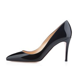 Wholesale French Style Weddings - Karmran Womens Ladies Handmade Fashion Brand Bigalle 85mm French Style Simple Office Party Pumps Shoes Black