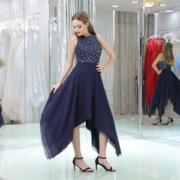 Wholesale Country Girl Sexy - Sexy Long Chiffon Country Bridesmaid Dresses 2018 Elegant Navy Blue Beading Sequined Girls Birthday Party Gowns Cheap Wedding Guest Dress
