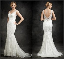 Wholesale Rosa Wedding Dress - 2016 Slip Style Wedding Gowns V Neckline Sweep Train KR t Embroidered Venice Lace Mermaid Ella Rosa Bridal Dresses Covered Button
