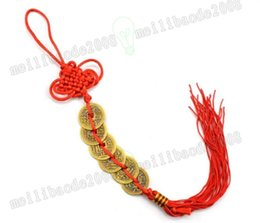 Wholesale I Ching - Red Chinese knot FENG SHUI Set Of 6 Lucky Charm Ancient I CHING Coins Prosperity Protection Good Fortune Home Car Decor