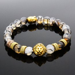 Wholesale Lion Head Charms Wholesale - style of lions Natural Gold and Silver Plated Lion Head Bracelet Men Black Lava Stone Beads Charm Bracelets Jewelry Masculino Plusera M4-3