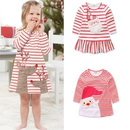 Wholesale Spring Dress Stripe - Baby girls Christmas deer Santa Claus dress cartoon Children stripe princess dresses Xmas kids costume C2573
