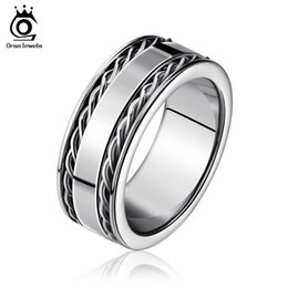 Wholesale Men Stainless Steel Ring Punk - 8mm Width Punk 316L Stainless Steel Ring High Polished 2 Lines Twisted Bands Decorated Men Women Finger Ring GTR04