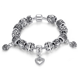Wholesale hanging charms pandora - Hot selling Fine Tibetan antique silver Beads Bracelet heart-shaped hanging jewelry Pandora Charms Glass Beads DIY Beaded Strands Bracelet