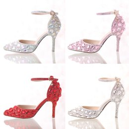 Wholesale Silver Bride Shoes - Rhinestone Bride Shoes Pointed Toe High Heel Stiletto Shoes Ankle Strap Wedding Party Shoes Silver Pink Red Color Summer Sandals