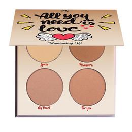 Wholesale Red Highlighter - Aurelife iluminador maquiagem Bronzer & Highlighter Palette ALL U NEED LOVE Kit Women Sexy Makeup Pallete