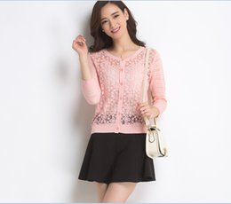 Wholesale knit girls lace cardigan - Wholesale- New Fashion Spring Lady Girl Candy Colors Long Sleeve Lace Knitwear Cardigan