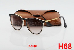 Wholesale mens branded sunglasses - 1pcs New Style Fashion Sunglasses For Mens Womens Erika Eyewear Designer Brand Sun Glasses Black Beige Gradient 52mm Lenses With Brown Case