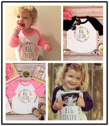 Wholesale Girls Flower Tshirts - Spring Autumn Baby Girls T-shirt Kids Flowers Letters Printed Long Sleeve Tops Tee Children Cotton Casual Tshirts