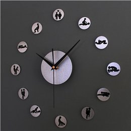 Wholesale Hours Sex - 2015 NEW!Creative DIY fun wall clock,24 hours of sex,3D DIY sex position wall sticker clock,livingroom decoration wall watches