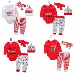 Wholesale baby cartoon romper suit - Children Christmas stripe outfits Cartoon letter printing headband+romper+pants 3pcs set Xmas baby suits kids Clothing C001